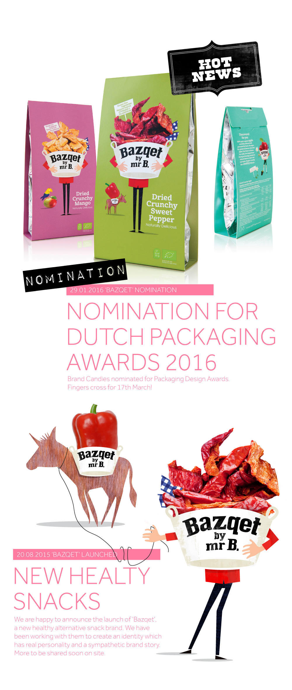 Brand Candies Launch New Snack Brand 'Bazqet'. NOMINATION FOR DUTCH PACKAGING AWARDS 2016
